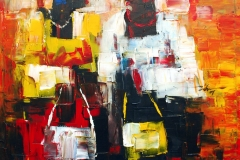 LOT 112 AMEBO BY MOSES ZIBOR 48X43 INCHES OIL ON CANVAS
