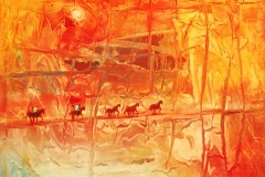 LOT 40 THE LAND OF THE BRAVE BY GERRY NUBIA 36X48INCHES OIL ON CANVAS 2011