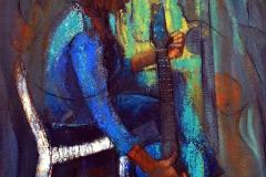 LOT 50 BLUES BY JOSHUA NSEMERIOYE 48X36 ACRYLIC ON CANVAS