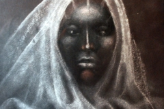 LOT 8 BEAUTIFUL WOMAN BY ABAYOMI BARBER 22X18INCHES PASTEL