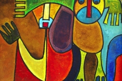 LOT 93 UNTITLED BY RUFUS OGUNDELE 28X52INCHES ACRYLIC ON BOARD