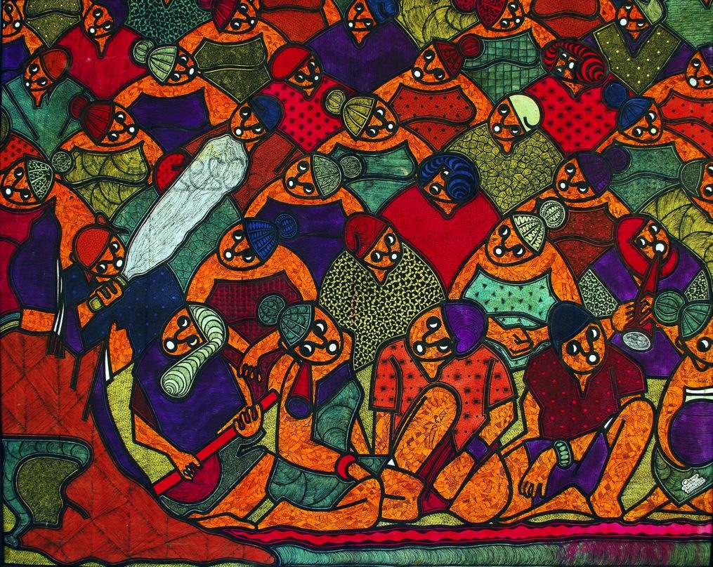 LOT-1-UNTITLED-1-BY-GBENGA-OGUNSAKIN-33.5X-43-INCHES-INK-ON-CANVAS