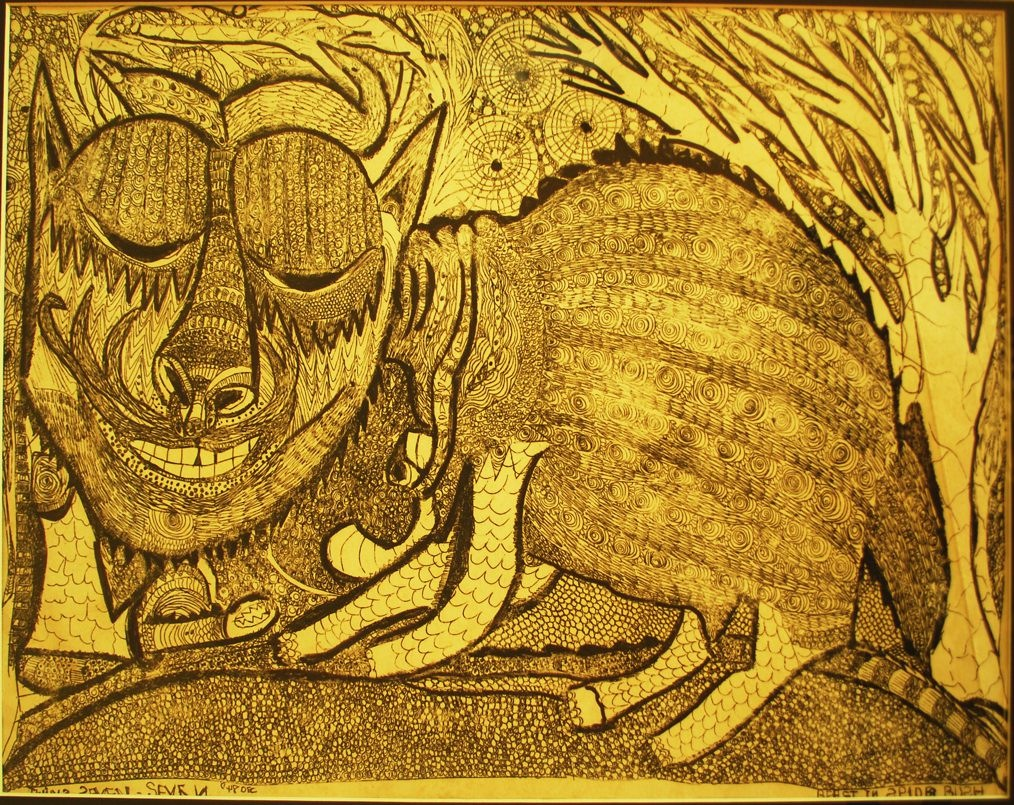 LOT-105-BEAST-IN-SPIDER-BUSH-BY-TWIN-77-24.5X-29.5-INCHES-INK-ON-PAPER