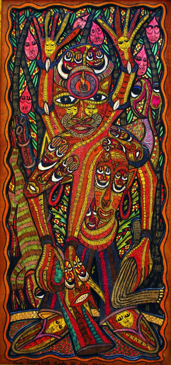 LOT-106-SPIRITUAL-BODIES-OF-BODYLESS-SPIN-IN-ODUN-SHRINE-BY-TEIN-77-20X40-INCHES-INK-ON-BOARD