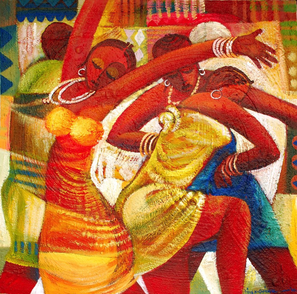 LOT-35-DANCE-AND-THE-UNSEEN-DRUMERS-BY-FIDELIS-OYIOGU-48X48INCHES-OIL-ON-CANVAS
