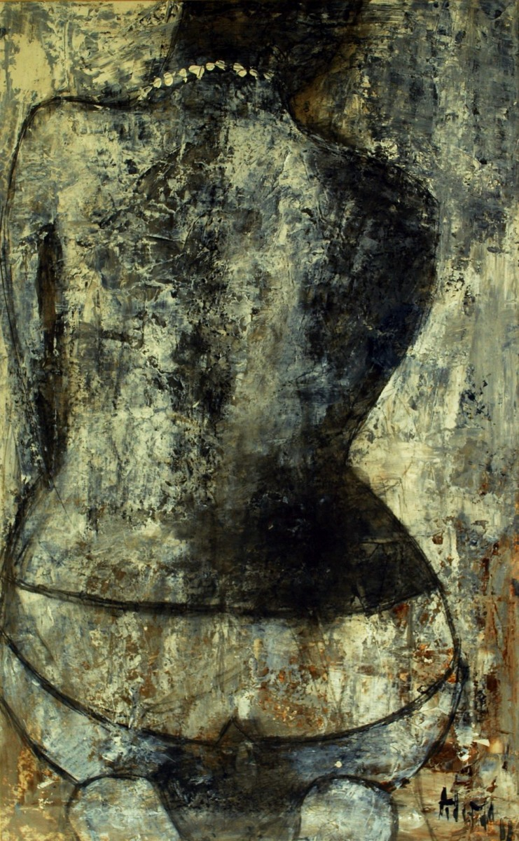LOT-4-SQUARTING-LADY-BY-ALIMI-29.5X43-INCHES-ACRYLIC-ON-PAPER