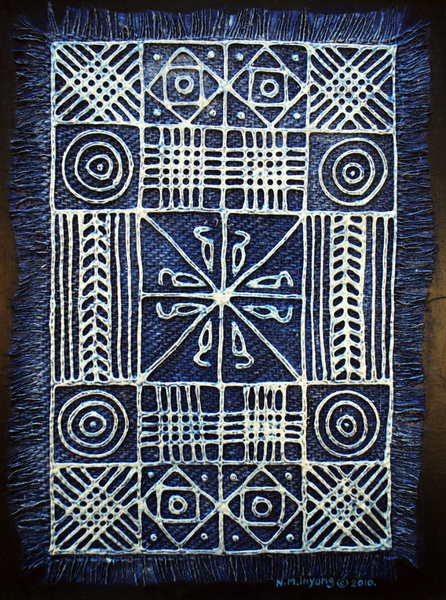 LOT-45-TRADITIONAL-ADIRE-MOTIFS-BY-N.M.-INYANG-25.5X32-INCHES-MIXED-MEDIA