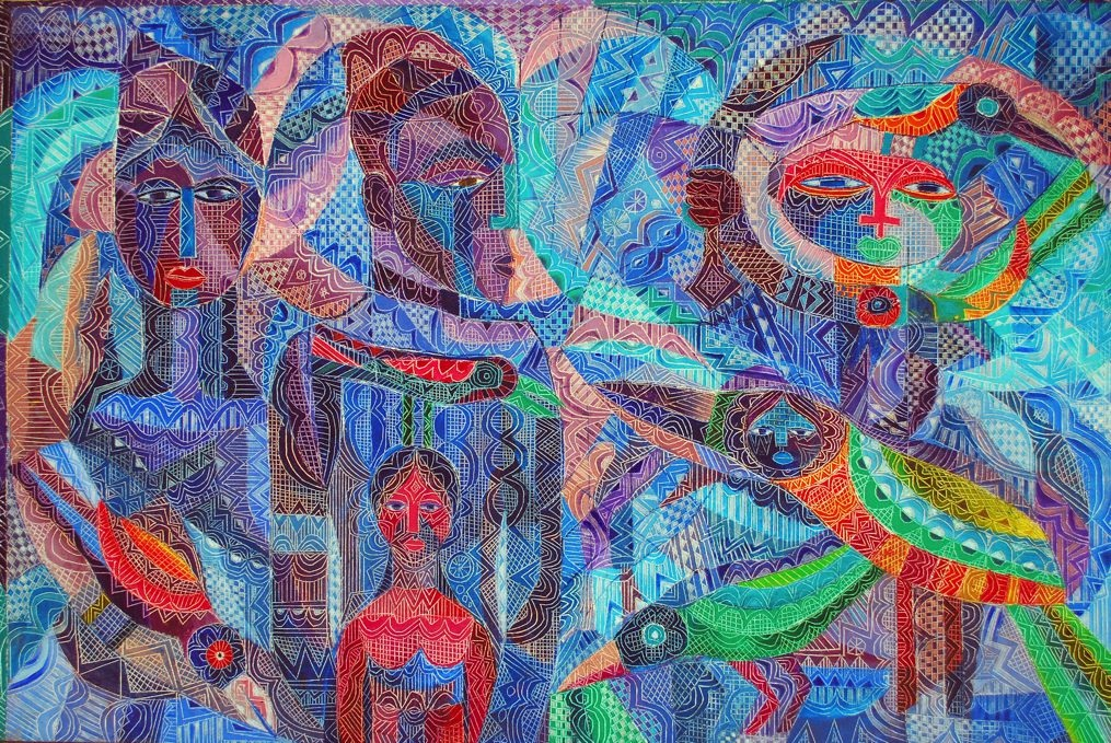 LOT-65-SCENE-FROM-A-DREAM-BY-MOYO-OGUNDIPE-22X33INCHES-OIL-ON-CANVAS