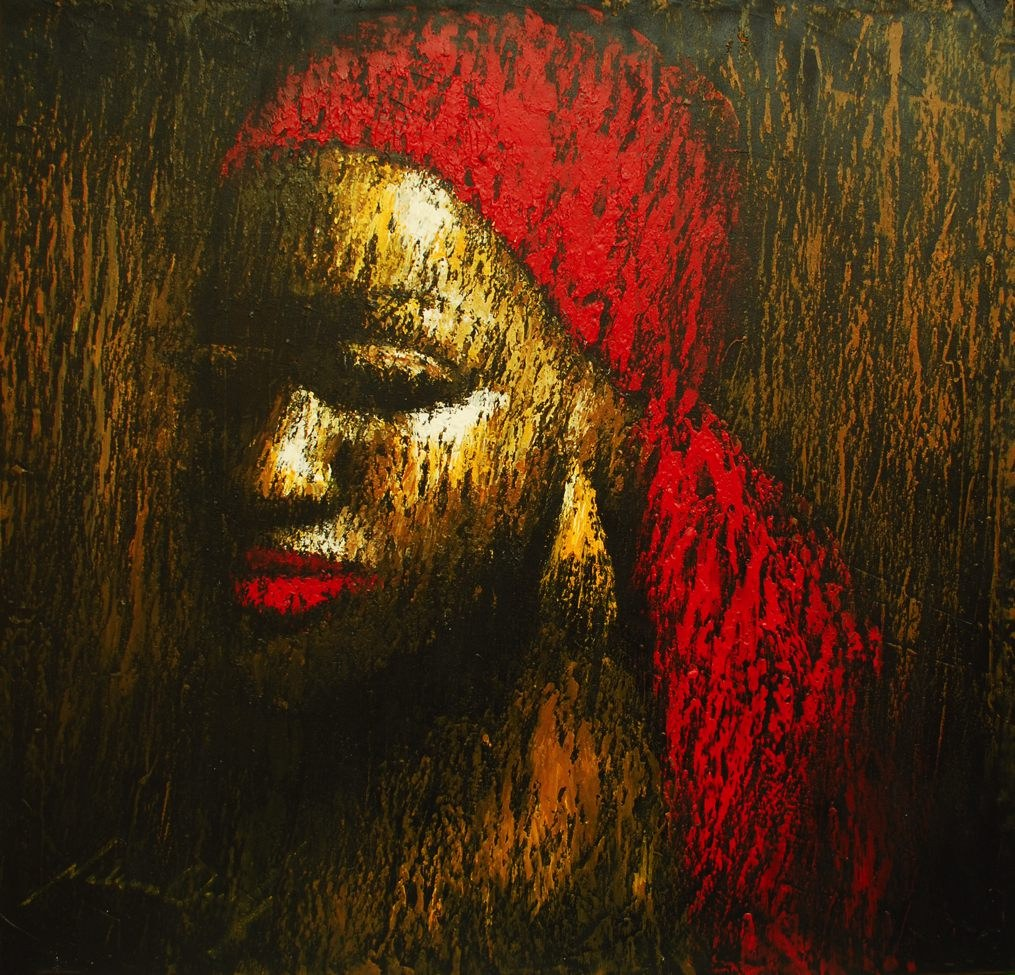 LOT-71-LADY-IN-RED-BY-NELSON-OKOH-46X45INCHES-OIL-ON-CANVAS