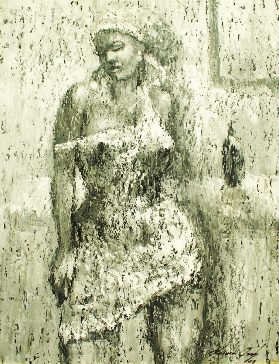 LOT-72-POSING-LADY-BY-NELSON-OKOH-43X54-INCHES-OIL-ON-CANVAS