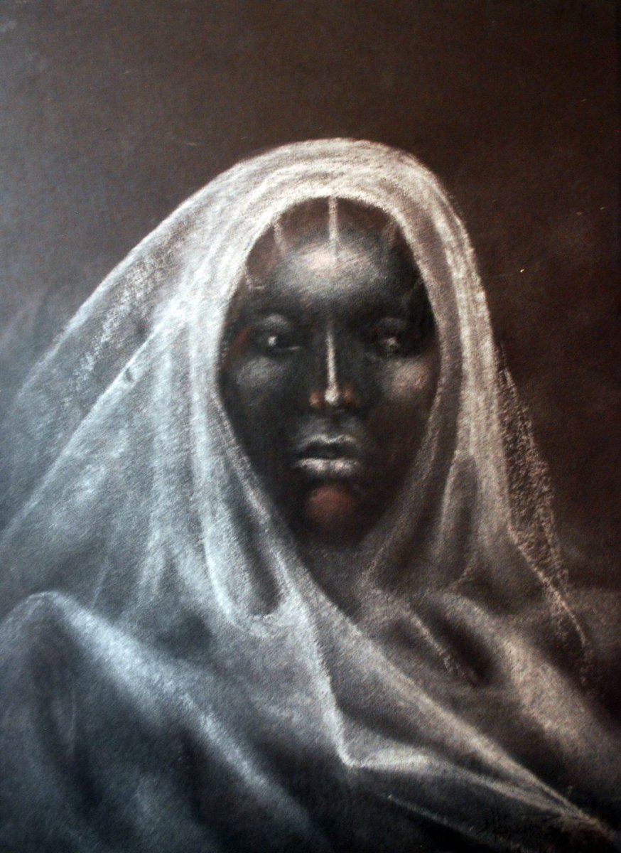 LOT-8-BEAUTIFUL-WOMAN-BY-ABAYOMI-BARBER-22X18INCHES-PASTEL